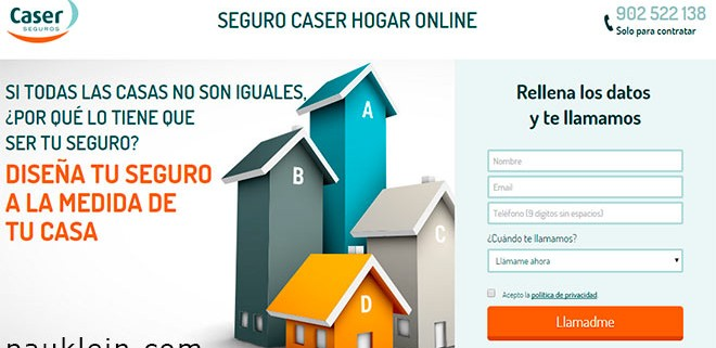 landing page para seguros de hogar marketing online sem