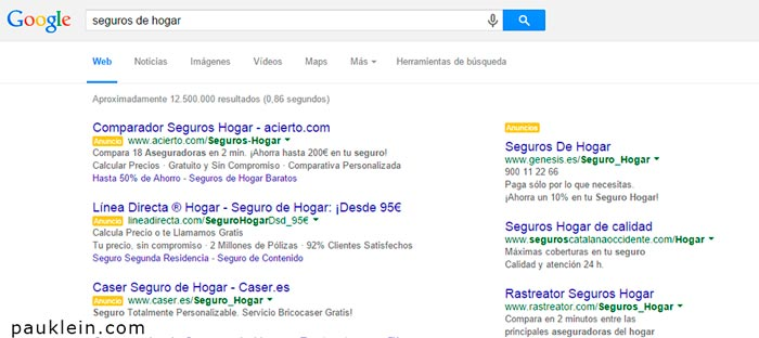 sem seguros de hogar keywords y conversion , marketing online